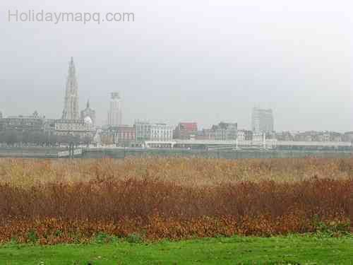 Sky line, Antwerp (the Cathedral, the Bank and the Police)