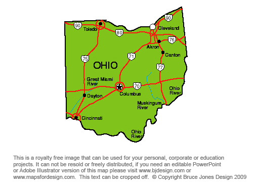 Free Map Of Ohio Holidaymapq Com