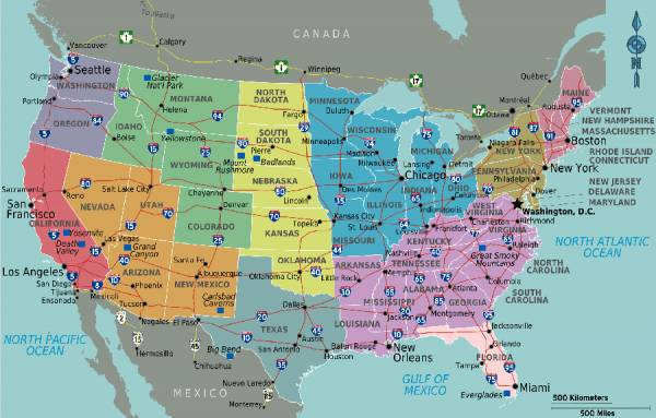 Usa Map Blank Political United States Map With Cities Usa Map Usa Free Basic Us