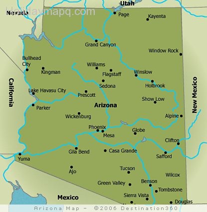 Map Of Arizona And Cities.Free Map Of Arizona Holidaymapq Com