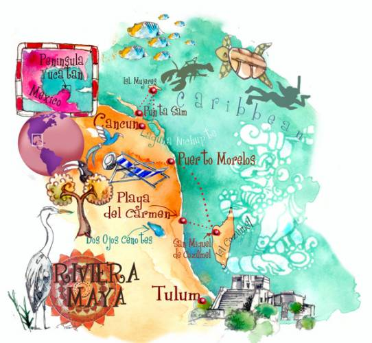 riviera-maya-yucatan-mexico-art-map-on-behance