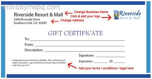 Gift Certificate Template - Map - Holiday - Travel Holidaymapq.Com