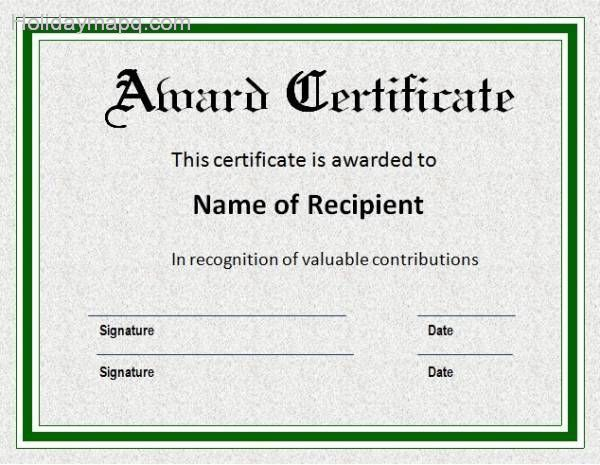 Certificate template word Map Holiday Travel – Award Templates Word