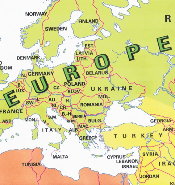 Map of europe countries labeled Map Holiday Travel