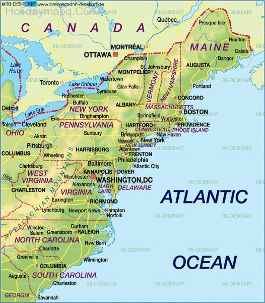 East Coast Map Map Of East Coast East Coast States USA Eastern US - Us map cities