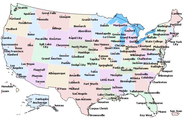 Printable Map Of Usa With States And Cities Printable Map Of Usa - Cities in us map