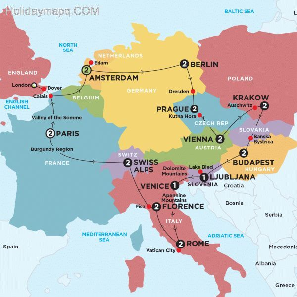 Map Of Germany And Italy.Map Of Italy To Germany Holidaymapq Com