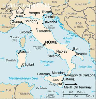 Map Of Italy Labeled Holidaymapq Com