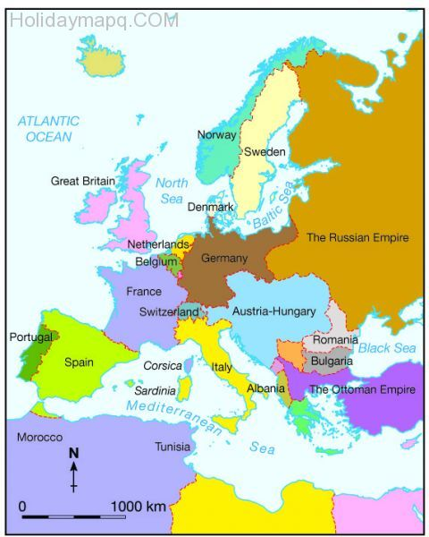 Map of europe before world war 1 - HolidayMapQ.com ®