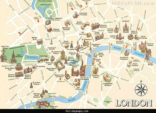 London Map Sightseeing.London Map Tourist Attractions Holidaymapq Com