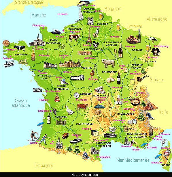 La France Map.Map Of La France Holidaymapq Com