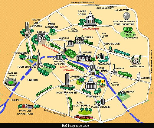 Paris Map Tourist Attractions – Map of Tourist Attractions in Paris