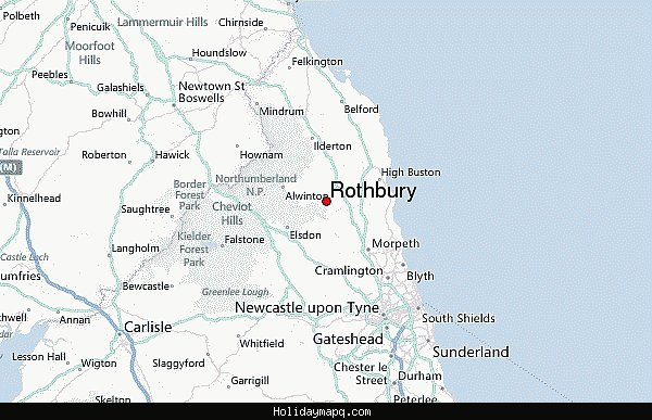 Map of Rothbury HolidayMapQcom