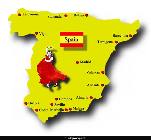 Map Of Spain For Tourists.Map Of Spain Tourist Holidaymapq Com