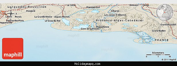 shaded-relief-panoramic-map-of-carnon-plage