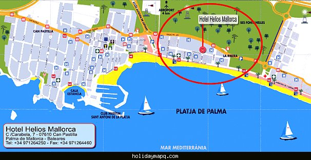 Map Of Palma De Mallorca Holidaymapq Com