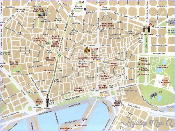 Barcelona Map Tourist Attractions - Holiday Map Q | HolidayMapQ.com ®