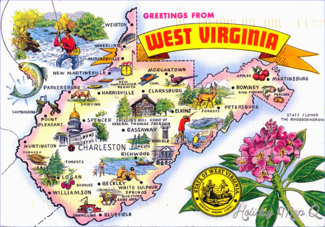 Large tourist illustrated map of the state of West Virginia ...