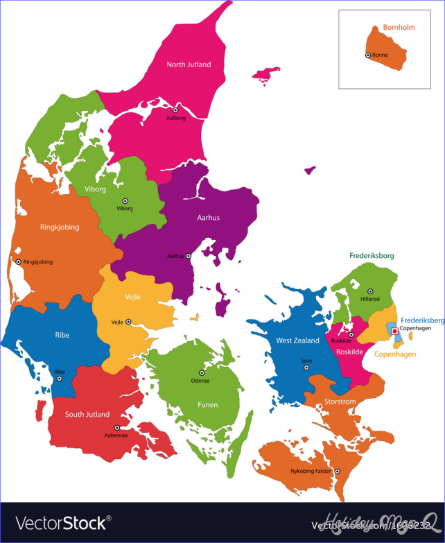 Denmark map Royalty Free Vector Image