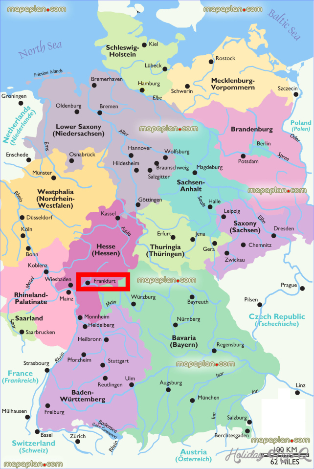 Germany on map and travel information | Download free Germany on map