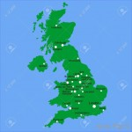 UK Map With Main Towns And Cities Stock Photo, Picture And Royalty