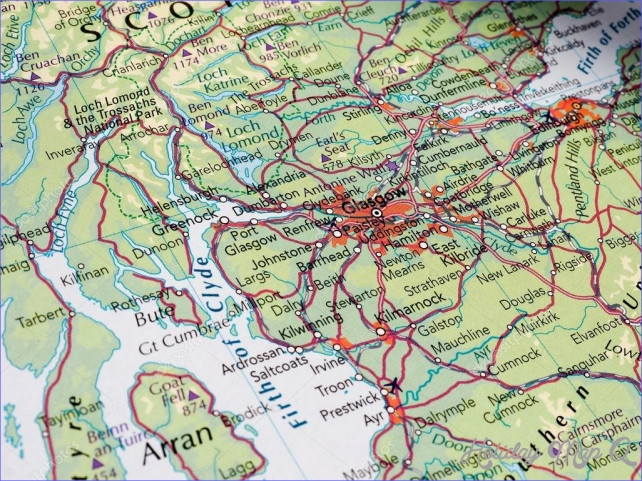 Glasgow map detail with selective focus
