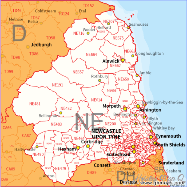 Newcastle Upon Tyne Postcode Area, District and Sector maps in