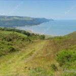 View from Selworthy Beacon to Porlock Bay Somerset England UK near