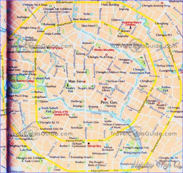 China Chengdu Map: Tourist Attractions, Hotels, Roads