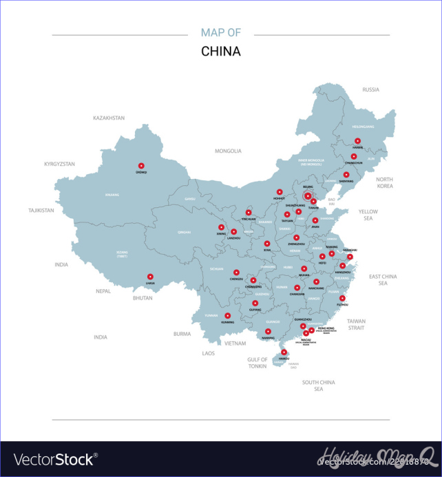 China map with red pin Royalty Free Vector Image