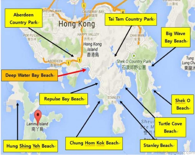 Map of Deep Water Bay Beach Hong Kong