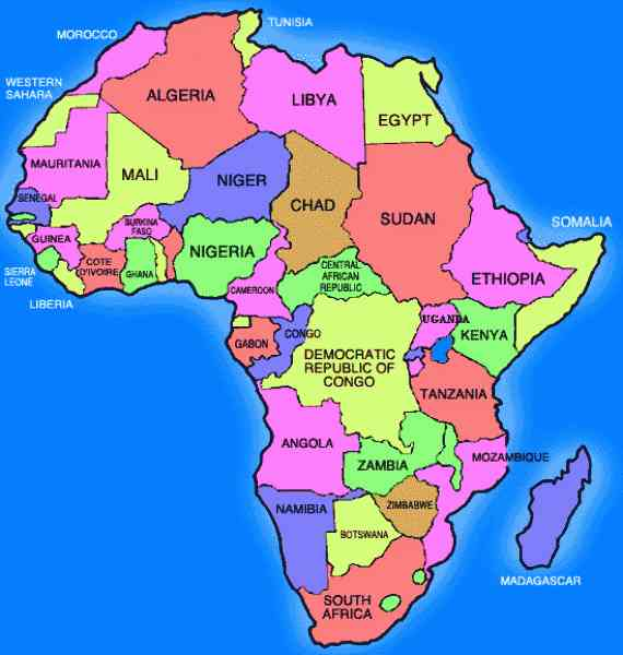 Labeled Maps Of Africa   Design Templates
