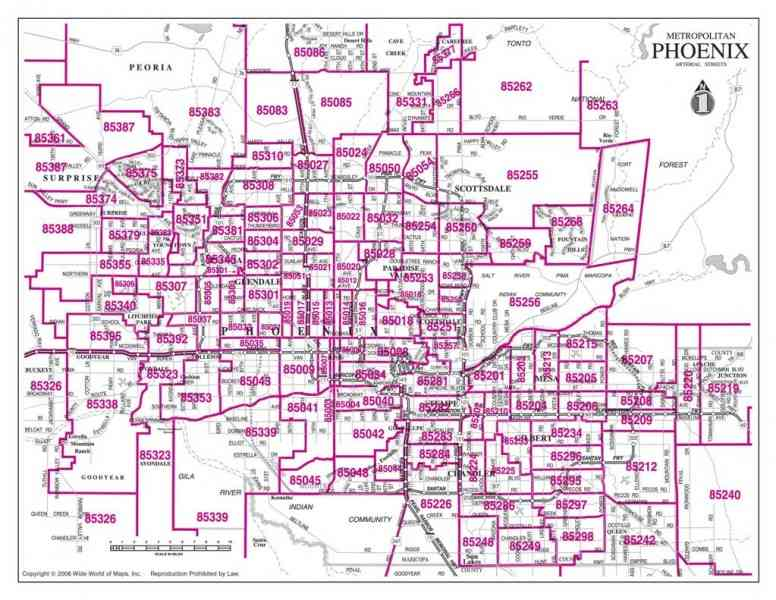 arizona zip code map 331 Arizona Zip Code Map