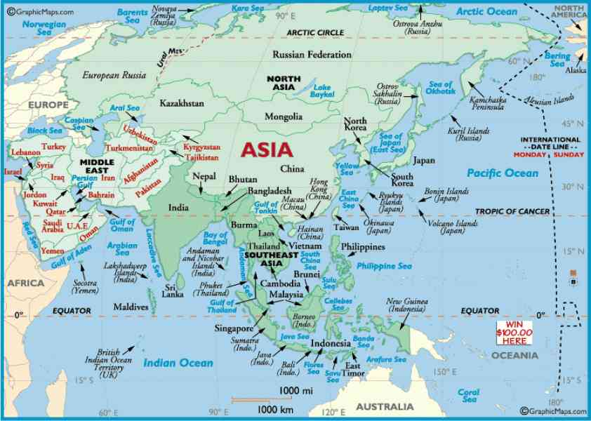 asia outline map 92 Asia Outline Map