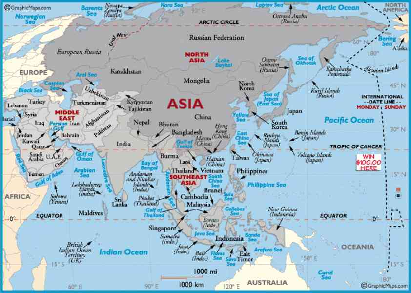 Asia world map holidaymapq asia world map gumiabroncs Choice Image