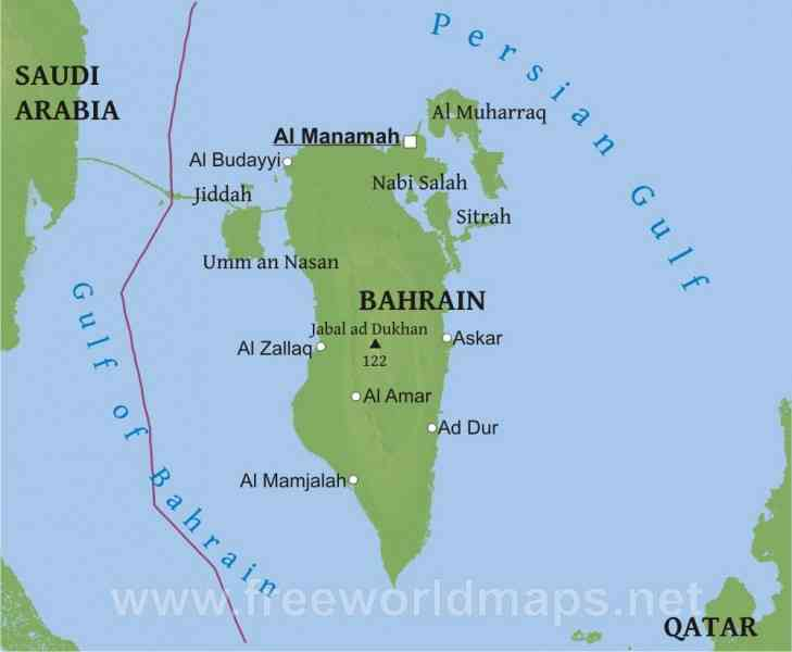 Bahrain on world map holidaymapq bahrain on world map gumiabroncs Images
