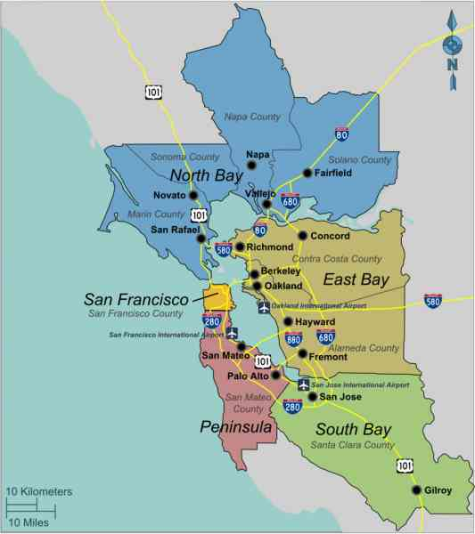 bay area map 280 Bay Area Map