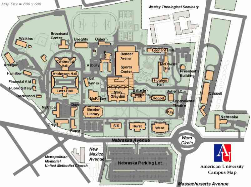 campus map american university 9 Campus Map American University