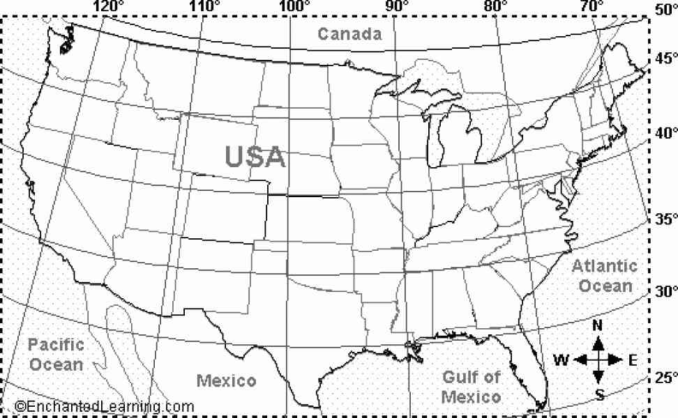 United States Map With Latitude And Longitude Thefreebiedepot - Map of the us with longitude and latitude