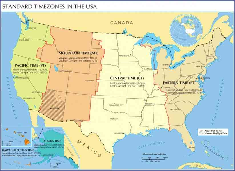 Central Time Zone Map - HolidayMapQ.com
