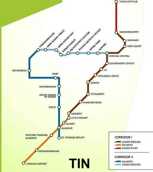 chennai metro rail map 628 Chennai Metro Rail Map