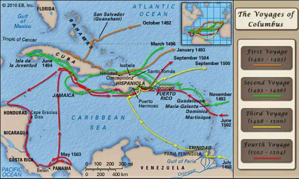 christopher columbus route map map holiday travel