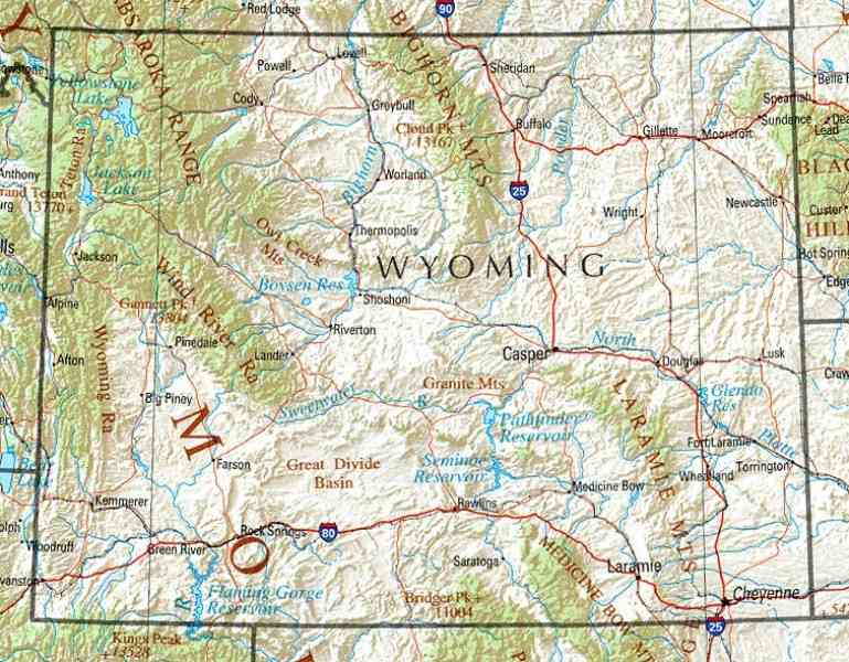 city map of wyoming 246 City Map Of Wyoming