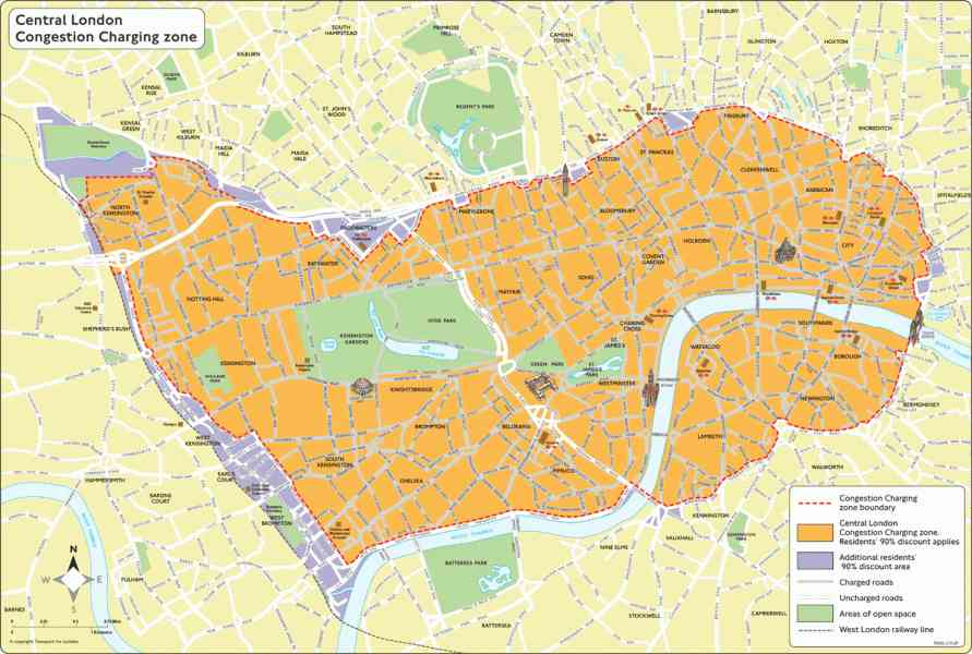 congestion charge map london 111 Congestion Charge Map London