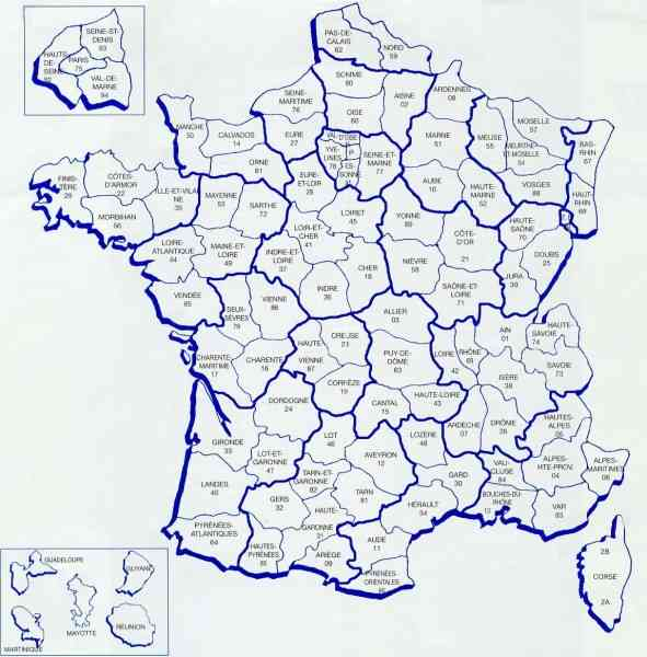 departments france map 8 Departments France Map