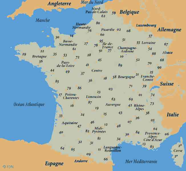 departments france map 165 Departments France Map