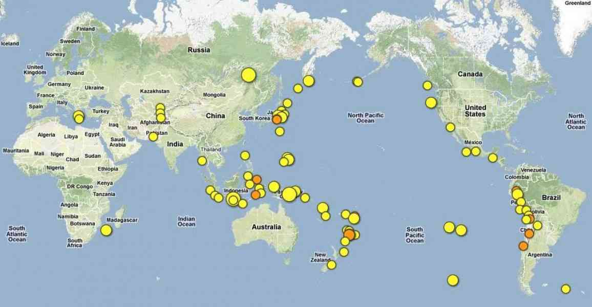Earthquakes map holidaymapq earthquakes map gumiabroncs Gallery