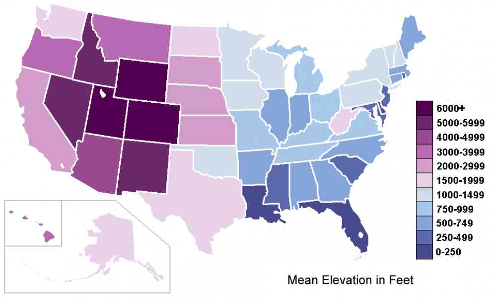 Elevation Map Us Map Holiday Travel HolidayMapQcom - Altititude map us