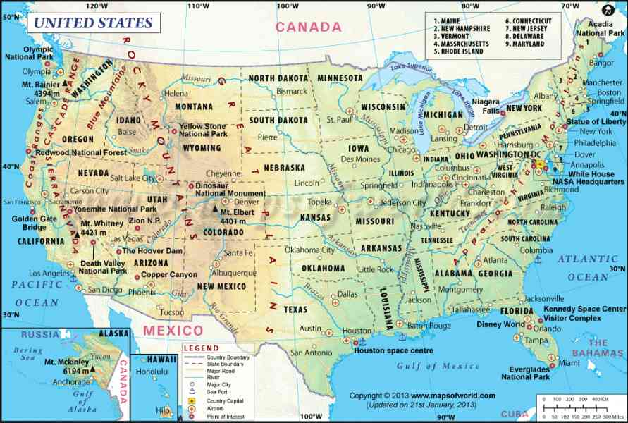 Geography Map Of The Usa - Map - Holiday - Travel HolidayMapQ.com