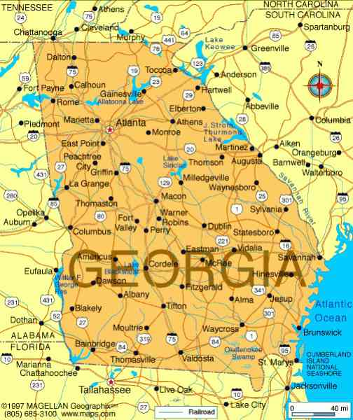 Georgia State Map Map Holiday Travel HolidayMapQcom - Georgia state map by county